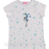 футболка для девочки белая LC Waikiki / Лс Вайкики в голубые точки с морским коньком на груди