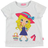 футболка для девочки белая LC Waikiki / Лс Вайкики с девочкой в шляпке на груди
