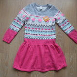 платье детское 7-8 Л теплое вязаное длинный сердечки вишня рукав Gymboree Джимбори новое с биркой