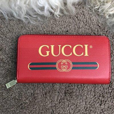 Кошелек Gucci Wallet Print Logo Zip Around Red
