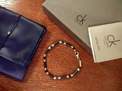 Мужской браслет Calvin Klein, серебро, оникс, чёрное дерево.