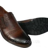 Туфли мужскиекожаные на резинках VivaroBrown