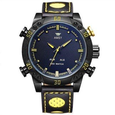 Часы мужские наручные AMST Shark фирменная коробка в подарок black-yellow