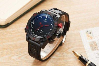 Часы мужские наручные AMST Shark фирменная коробка в подарок black-black