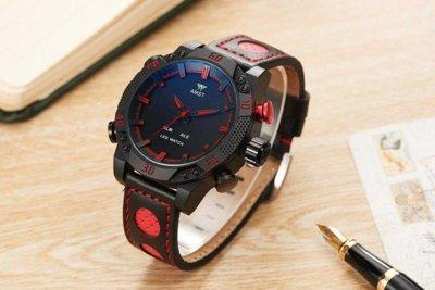 Часы мужские наручные AMST Shark фирменная коробка в подарок black-red