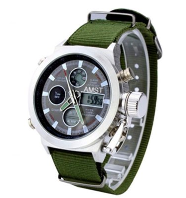 Часы мужские наручные AMST Biden фирменная коробка в подарок nylon green-silver-black