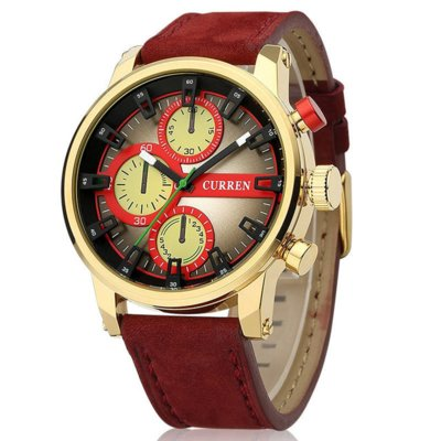 Часы мужские Curren California red-gold-red