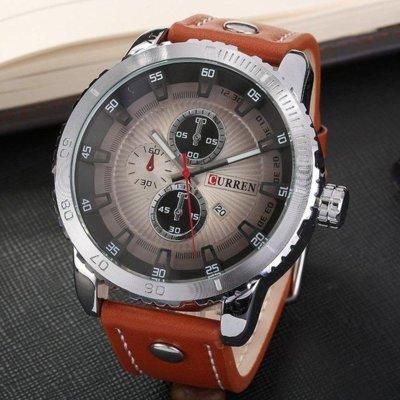 Часы мужские Curren Denver light brown-silver