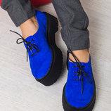 Замшевые броги туфли полуботинки электрик низкий ход на толстой подошве