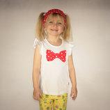 футболка для девочки белая LC Waikiki / Лс Вайкики с красным бантиком в горошек и повязкой на голову