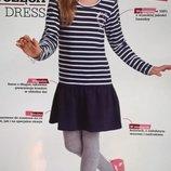 Платье для девочки полосатое с длинным рукавом