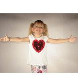 футболка для девочки белая LC Waikiki / Лс Вайкики с сердцем на груди