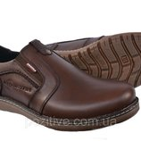 Туфли мужские кожаные KrisnanBrown на резинке