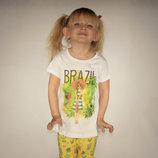 футболка для девочки LC Waikiki / Лс Вайкики с картинкой и надписью Brazil