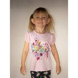 футболка для девочки розовая LC Waikiki / Лс Вайкики с цветами и колибри