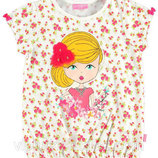 футболка для девочки белая LC Waikiki / Лс Вайкики в цветочки и с девочкой на груди