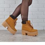Ботинки женские на платформе в стиле Dr. Martens Мартинсы желтые 36-41