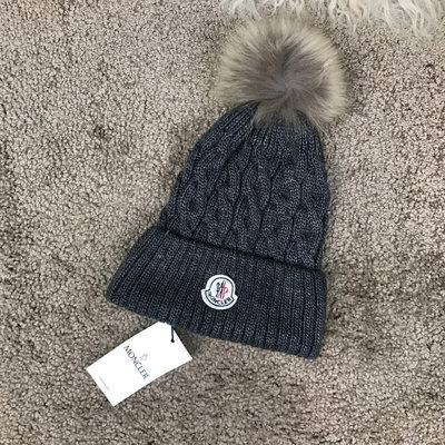 Шапка Moncler Winter Hat Knitted Pompon Dark Gray