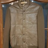 Вязаная демисезонная куртка с кожаными вставками