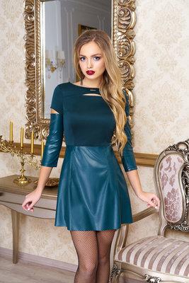 7a4cbd2e192 Модное молодежное платье с юбкой из эко-кожи 44-48р  480 грн ...