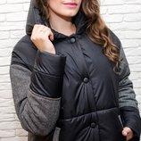 Женское демисезонное пальто оверсайз бойфренд с капюшоном комбинированное твидом