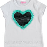 футболка для девочки белая LC Waikiki / Лс Вайкики с голубым сердцем