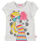 футболка для девочки белая LC Waikiki / Лс Вайкики с девочкой с мороженным