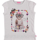 футболка для девочки белая LC Waikiki / Лс Вайкики с котиком в очках на груди