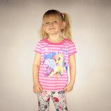футболка для девочки розовая LC Waikiki / Лс Вайкики в полоску с пони