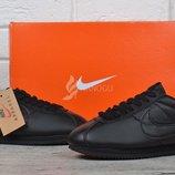 Кроссовки кожаные Nike Classic Cortez Black Индонезия черные