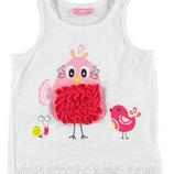 майка для девочки белая LC Waikiki / Лс Вайкики с птичками на груди
