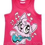 майка для девочки розовая LC Waikiki / Лс Вайкики с лисенком на груди