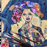 Ручная роспись джинсовая куртка с рисунком принт Под Заказ Любой Рисунок