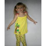 майка для девочки желтая LC Waikiki / Лс Вайкики с девочкой и пальмой