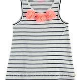 майка для девочки белая LC Waikiki / Лс Вайкики в темные полоски и розовые цветы на груди