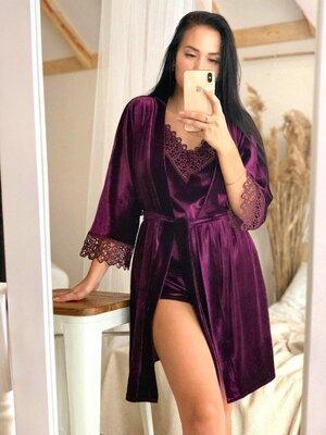 Слива Комплект бархат 031 Christel женская пижама майка шорты с халатом