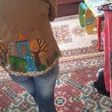 Пиджак ручная роспись домики р.м новый