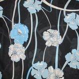 Шифон Голубые цветы на черном , ткань, ткани