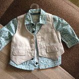 3-6 мес комплект двойка, рубашка и жилетка для маленького джентльмена