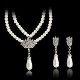 Набор украшений ожерелье и серьги с искусственным жемчугом