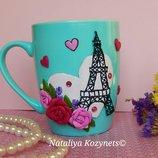 Авторская чашка ,кружка декорированая полимерной глиной Любовь в Париже