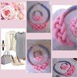 Комплект розовая дымка - колье и браслет, бисер, ручная работа