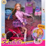 Кукла на велосипеде BLD143 и на велосипеде с собачкой BLD144