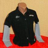 Рубашка черная с серыми рукавами на мальчика подростка New Look