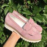 Туфли лоферы с бахромой из натуральной кожи замши Новинка