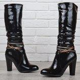 Сапоги женские на каблуке лакированные Rossi черные весна-осень