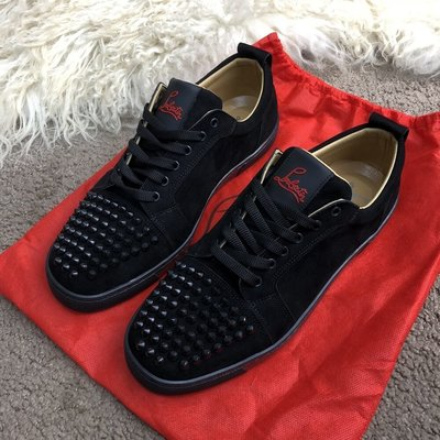 low priced 54309 8588c Туфли мужские Christian Louboutin Louis Junior Spikes Men's Flat Black Suede