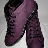 Утепленные ботинки ECCO,раз 41,стелька 26.7см,нубуковые на искусственном меху стельки Comfort Fibre