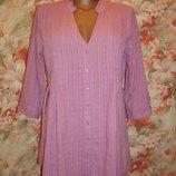 Рубашка-Туника,блуза сиреневая удлиненная хлопковая р. 12-14