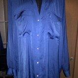 Синяя атласная блуза